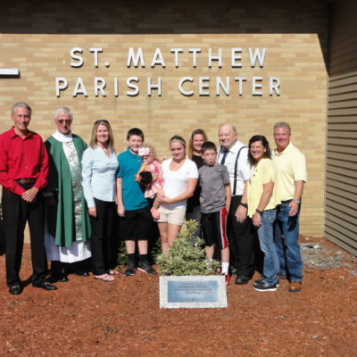 <b>Shrub Dedication attended by Kling family members at Saint Matthew Church</b>                 <p>                     L-R: Tom DeWitt (Shepherd's Pantry Vice President,) Father Brian Kennedy CSsR, Laurie Johnson (Shepherd's                     Pantry President,) Sean Kneeland, Brittnee Kneeland, Sophia Gifford, Nicky Kneeland,                     Nathan Kneeland, David Kling, Colleen Jezierski, Andrew Jezierski.   </p>
