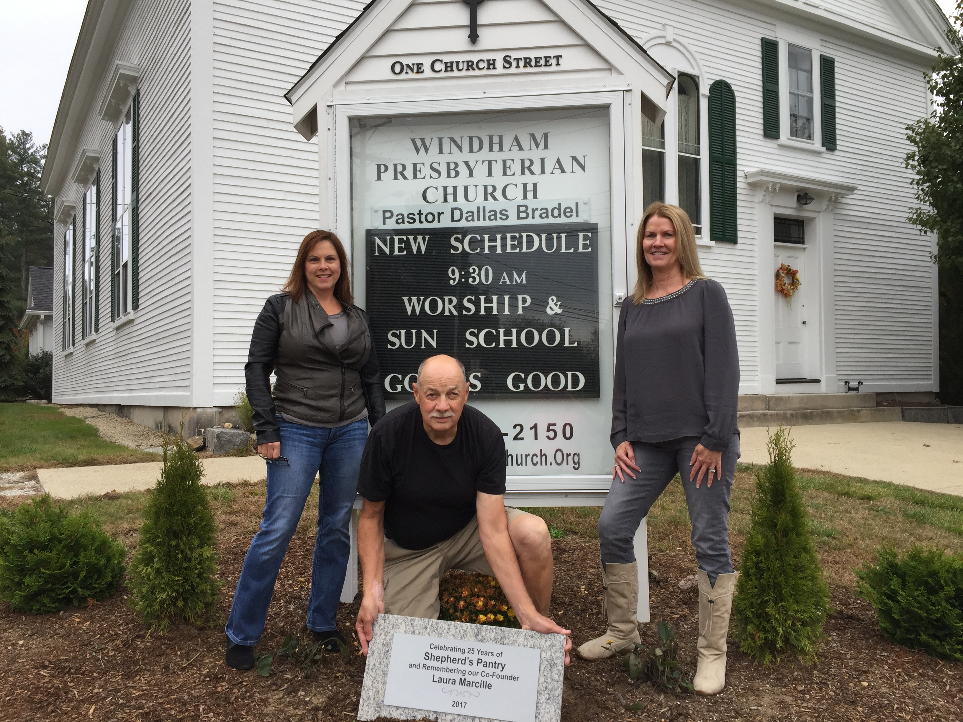 <b>Shrub dedication at Windham Presbyterian Church</b>                 <p>                     L-R: Debbie MacKenzie (Shepherd's Pantry Board &amp; Windham Presbyterian,) Rich Parow (Shepherd's                     Pantry Volunteer,) Laurie Johnson (Shepherd's Pantry President.)                 </p>